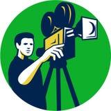 Κινηματογράφος διευθυντής Movie Film Camera Circle αναδρομικός Στοκ εικόνα με δικαίωμα ελεύθερης χρήσης