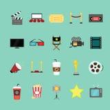 Κινηματογράφος και εικονίδια κινηματογράφων καθορισμένα Ελεύθερη απεικόνιση δικαιώματος