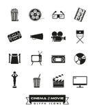 Κινηματογράφος και διανυσματικό σύνολο εικονιδίων κινηματογράφων glyph Στοκ Φωτογραφία