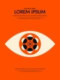 Κινηματογράφος και σύγχρονο αναδρομικό εκλεκτής ποιότητας υπόβαθρο αφισών ταινιών διανυσματική απεικόνιση