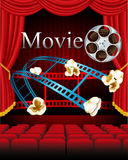 Κινηματογράφος κινηματογράφων ταινιών με την κόκκινη κουρτίνα, κάθισμα στο θέατρο ελεύθερη απεικόνιση δικαιώματος
