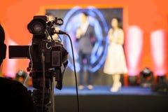 Κινηματογράφος που καταγράφει τη συσκευή για το γεγονός για τη ραδιοφωνική μετάδοση στοκ εικόνες
