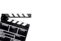 Κινηματογράφος clapperboard στην άσπρη τοπ άποψη υποβάθρου copyspace Στοκ φωτογραφία με δικαίωμα ελεύθερης χρήσης