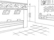 Κινηματογράφων εσωτερικό διάνυσμα απεικόνισης σκίτσων γραφείων εκδόσεως εισιτηρίων γραφικό μαύρο άσπρο Στοκ φωτογραφίες με δικαίωμα ελεύθερης χρήσης