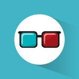 Κινηματογράφων τρισδιάστατο εικονίδιο κινηματογράφων γυαλιών βοηθητικό απεικόνιση αποθεμάτων