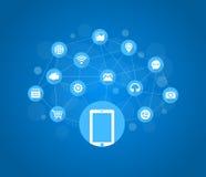 Κινητά εικονίδια, κοινωνικά μέσα, κινητή τεχνολογία, Διαδίκτυο διανυσματική απεικόνιση