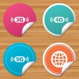 Κινητά εικονίδια τηλεπικοινωνιών 3G, 4G και 5G απεικόνιση αποθεμάτων