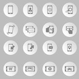 Κινητά εικονίδια τηλεφωνικού analytics καθορισμένα Στοκ φωτογραφία με δικαίωμα ελεύθερης χρήσης