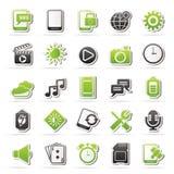 Κινητά εικονίδια τηλεφωνικών διεπαφών Στοκ εικόνα με δικαίωμα ελεύθερης χρήσης