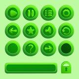 Κινητά πράσινα διανυσματικά στοιχεία για το παιχνίδι Ui Στοκ Εικόνα