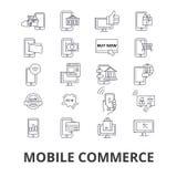 Κινητά σχετικά με το εμπόριο εικονίδια διανυσματική απεικόνιση