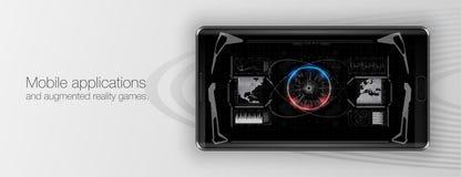 Κινητές εφαρμογές και αυξημένα παιχνίδια πραγματικότητας Παρουσίαση μιας κινητού εφαρμογής ή ενός παιχνιδιού διανυσματική απεικόνιση