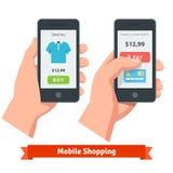 Κινητές σε απευθείας σύνδεση αγορές ηλεκτρονικού εμπορίου smartphone Στοκ Φωτογραφία