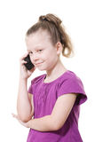 κινητές τηλεφωνικές νεολαίες κοριτσιών Στοκ Φωτογραφία