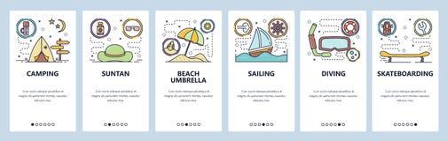 Κινητές app onboarding οθόνες Δραστηριότητες θερινού ελεύθερου χρόνου, διακοπές παραλιών, ταξίδι και στρατοπέδευση, ναυσιπλοΐα, κ απεικόνιση αποθεμάτων