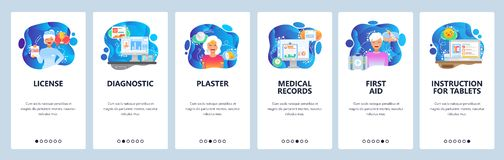 Κινητές app onboarding οθόνες Πληροφορίες φαρμάκων, πρώτες βοήθειες, νοσοκόμα, ιατρικές αναφορές Διανυσματικό πρότυπο εμβλημάτων  ελεύθερη απεικόνιση δικαιώματος