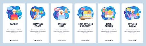 Κινητές app onboarding οθόνες Barbershop, σαλόνι ομορφιάς, αφρός ξυρίσματος και κούρεμα Διανυσματικό πρότυπο εμβλημάτων επιλογών  διανυσματική απεικόνιση