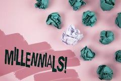 Κινητήρια κλήση Millennials κειμένων γραφής Έννοια που σημαίνει την παραγωγή Υ το γεννημένο από το 1980 s σε 2000s που γράφεται σ Στοκ Φωτογραφίες