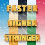 Κινητήριες λέξεις γρηγορότερα, υψηλότερος ισχυρότερος ελεύθερη απεικόνιση δικαιώματος