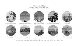 10 κινητήριες εικόνες του ταξιδιού διανυσματική απεικόνιση