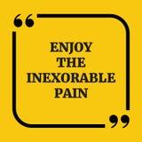 Κινητήριο απόσπασμα Απολαύστε τον αδυσώπητο πόνο Στοκ Εικόνες