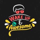 Ξυπνήστε και να είστε τρομερός Κινητήριο απόσπασμα ασφαλίστρου Απόσπασμα τυπογραφίας Διανυσματικό απόσπασμα με το μαύρο υπόβαθρο διανυσματική απεικόνιση