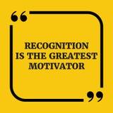 Κινητήριο απόσπασμα Η αναγνώριση είναι το μέγιστο motivator Στοκ φωτογραφίες με δικαίωμα ελεύθερης χρήσης