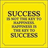 Κινητήριο απόσπασμα Η επιτυχία δεν είναι το κλειδί στην ευτυχία Στοκ φωτογραφία με δικαίωμα ελεύθερης χρήσης