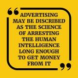 Κινητήριο απόσπασμα Η διαφήμιση μπορεί να περιγραφεί ως επιστήμη ο Στοκ Φωτογραφίες