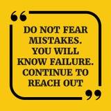 Κινητήριο απόσπασμα Μην φοβηθείτε τα λάθη Ξέρετε την αποτυχία Στοκ Φωτογραφία