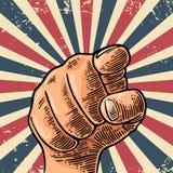 Κινητήριο χέρι αφισών που δείχνει σε σας Θεατής δάχτυλων, από το μέτωπο Στοκ Εικόνες