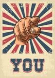 Κινητήριο χέρι αφισών που δείχνει σε σας Θεατής δάχτυλων, από το μέτωπο Στοκ φωτογραφία με δικαίωμα ελεύθερης χρήσης