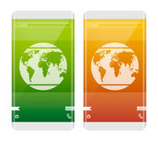 Κινητή έννοια Γη στην οθόνη Τηλέφωνο με την κυρτή άκρη το καφετί καλυμμένο γήινο περιβαλλοντικό φύλλωμα ημέρας πηγαίνει πηγαίνοντ Στοκ φωτογραφίες με δικαίωμα ελεύθερης χρήσης