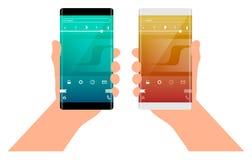 Κινητή έννοια διεπαφών εφαρμογής Τηλέφωνο με την κυρτή άκρη διαθέσιμη Στοκ φωτογραφία με δικαίωμα ελεύθερης χρήσης