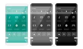Κινητή έννοια διεπαφών εφαρμογής Τηλέφωνο με την κυρτή άκρη Στοκ Εικόνα