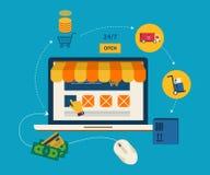 Κινητή έννοια μάρκετινγκ με τα επίπεδα εικονίδια ελεύθερη απεικόνιση δικαιώματος