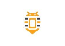 Κινητή έννοια τηλεφωνικών λογότυπων μελισσών Στοκ Φωτογραφία