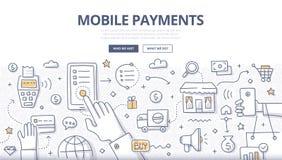 Κινητή έννοια Doodle πληρωμών απεικόνιση αποθεμάτων