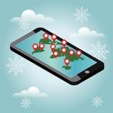 Κινητή θέση τηλεφωνικού geo Χειμερινή ημέρα χιονιού Αναμονή Χριστούγεννα και νέο ένα έτος σε όλο τον κόσμο ΠΣΤ Smartphone απεικόνιση αποθεμάτων