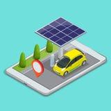 Κινητή ναυσιπλοΐα ΠΣΤ, ηλεκτρική έννοια χρέωσης αυτοκινήτων Δείτε έναν χάρτη στο κινητό τηλέφωνο στις συντεταγμένες ΠΣΤ αυτοκινήτ απεικόνιση αποθεμάτων
