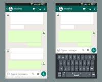 Κινητή συνομιλία app εξαρτήσεων UI με το κινητό πρότυπο πληκτρολογίων στην οθόνη smartphone απεικόνιση αποθεμάτων