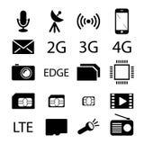 Κινητή συλλογή εικονιδίων τηλεφωνικών προδιαγραφών απεικόνιση αποθεμάτων