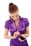 κινητή τηλεφωνική γυναίκα Στοκ Εικόνα