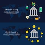Κινητή τραπεζική έννοια Επίπεδο σχέδιο, απεικόνιση διανυσματική απεικόνιση