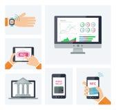 Κινητή τραπεζική έννοια, ψηφιακά infographic στοιχεία πορτοφολιών Διανυσματικές κινητές συσκευές με τα εικονίδια στο επίπεδο ύφος διανυσματική απεικόνιση