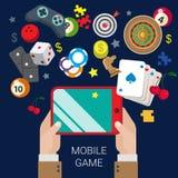 Κινητή τυχερού παιχνιδιού σε απευθείας σύνδεση χαρτοπαικτικών λεσχών παιχνιδιών έννοια παιχνιδιού Ιστού παιχνιδιού επίπεδη Στοκ Φωτογραφίες
