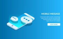 Κινητός αγγελιοφόρος Επικοινωνία που χρησιμοποιεί ένα smartphone Λεκτική φυσαλίδα στο υπόβαθρο μιας φορητής συσκευής σύγχρονο διά απεικόνιση αποθεμάτων