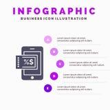 Κινητός, αγορές, πρότυπο παρουσίασης Infographics έκπτωσης 5 παρουσίαση βημάτων διανυσματική απεικόνιση
