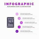 Κινητός, ετικέττα, στερεό εικονίδιο Infographics 5 OnEducation υπόβαθρο παρουσίασης βημάτων ελεύθερη απεικόνιση δικαιώματος