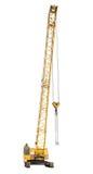 Κινητός κίτρινος γερανός αντιολισθητικών αλυσίδων που απομονώνεται στο λευκό Στοκ φωτογραφία με δικαίωμα ελεύθερης χρήσης
